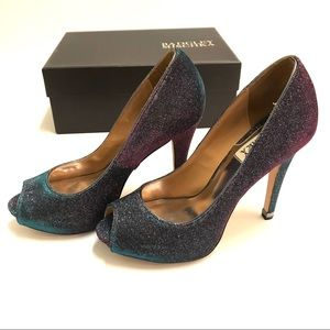 Badgley Mischka Humbie IV Gray Plum Peep Toe Pumps